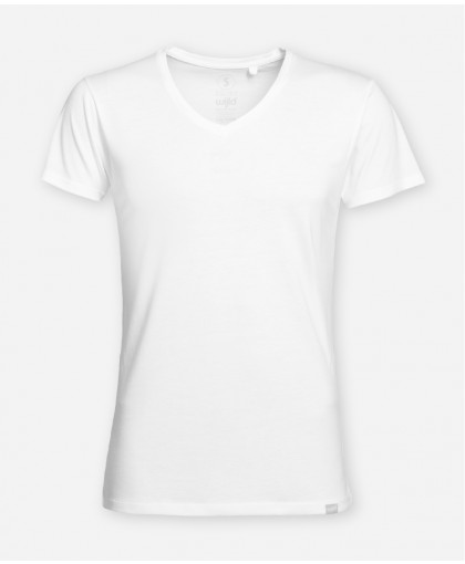 MEN V-NECK BRIGHT WHITE WOODSHIRT