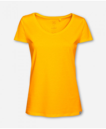 WOMEN V-NECK YELLOW WOODSHIRT