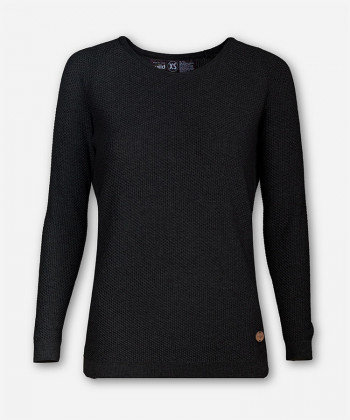 WOMEN BLACK KNITTED SWEATER BRANCH