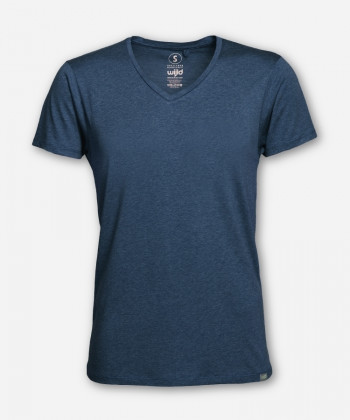 MEN V-NECK BLUE MELANGE WOODSHIRT