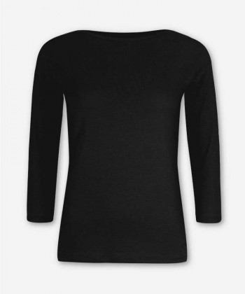 WOMEN BLACK LONGSLEEVE BOAT NECK