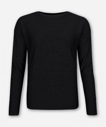WOMEN BLACK KNITTED SWEATER FUNNEL-NECK
