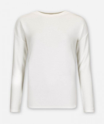 WOMEN IVORY KNITTED SWEATER FUNNEL-NECK