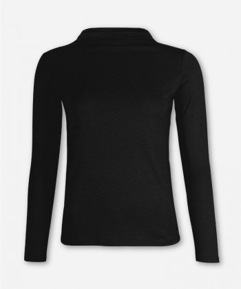 WOMEN BLACK LONGSLEEVE FUNNEL NECK