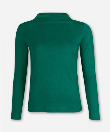 WOMEN FOREST GREEN LONGSLEEVE FUNNEL NECK