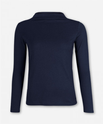 WOMEN MARITIM BLUE LONGSLEEVE FUNNEL NECK