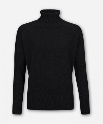 WOMEN BLACK KNITTED SWEATER TURTLE-NECK
