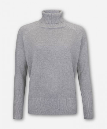 WOMEN WOVEN GRAY KNITTED SWEATER TURTLE-NECK