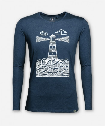 MEN LINOCUT-LIGHTHOUSE LONGSLEEVE von Linoart