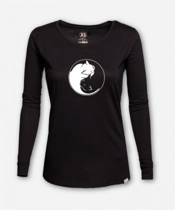 WOMEN YIN AND YANG CATS LONGSLEEVE von Julia Schneider