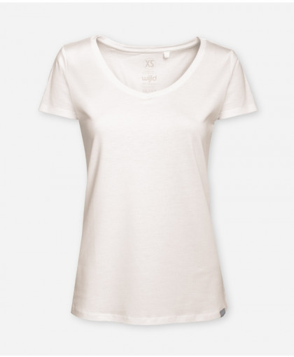 WOMEN V-NECK OFF-WHITE WOODSHIRT