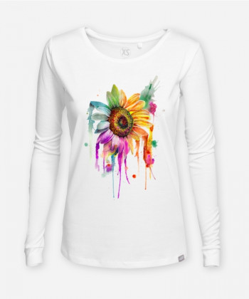 WOMEN AQUARELL SONNENBLUME LONGSLEEVE by Christina Rudnick