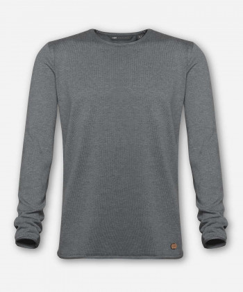 MEN KNITTED SWEATER WOVEN GRAY