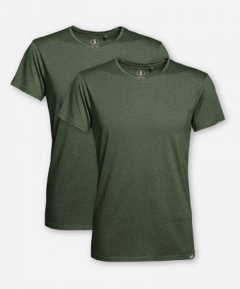 MEN GREEN MELANGE DOUBLE WOODSHIRT