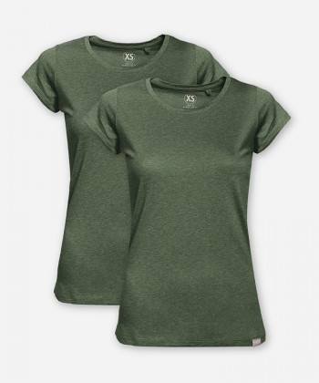 WOMEN GREEN MELANGE DOUBLE WOODSHIRT