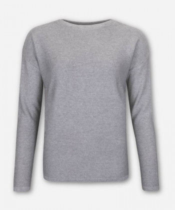 WOMEN FUNNEL NECK KNITTED SWEATER WOVEN GRAY