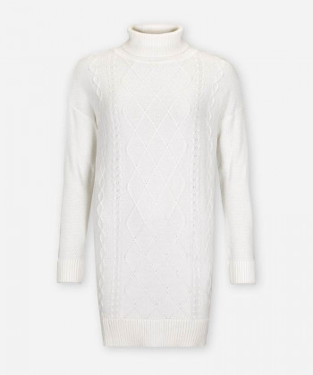 WOMEN CABLE KNIT DRESS IVORY