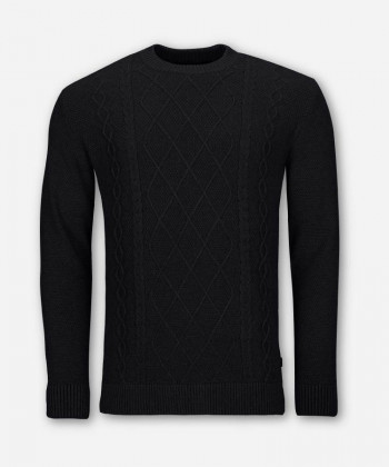 MEN CABLE KNIT SWEATER BLACK