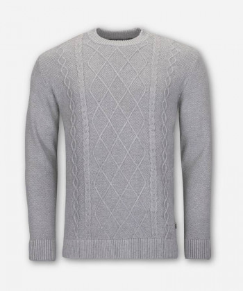 MEN CABLE KNIT SWEATER WOVEN GRAY