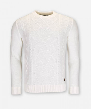 MEN CABLE KNIT SWEATER IVORY