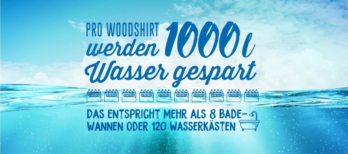 Pro WoodShirt werden 1000 l Wasser gespart. Das entspricht mehr als 8 Badewannen oder 120 Wasserkästen.