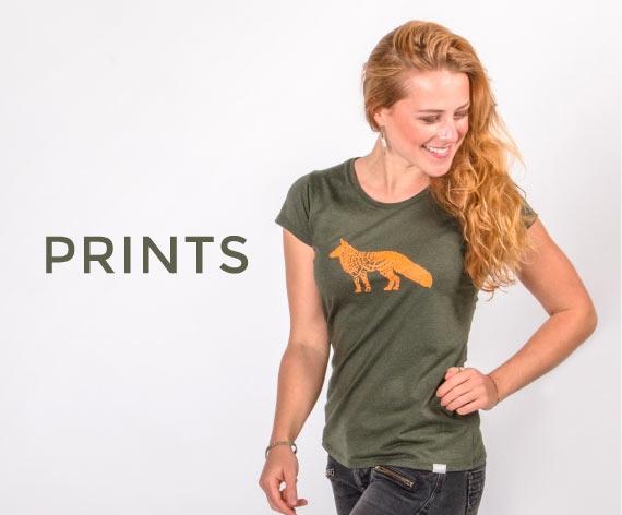 Damen T-Shirt aus Holz mit Druck