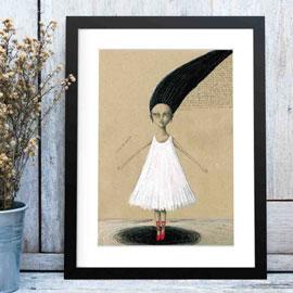"""gerahmtes Premum Poster """"Die Tänzerin"""" von Francesca Sai"""